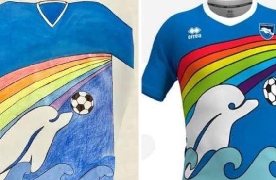 6-latek zaprojektował koszulkę włoskiego klubu